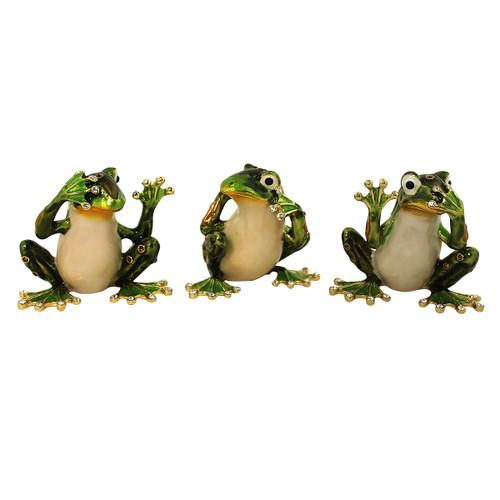 See Hear Speak No Evil Frog Trinket Box Set