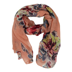 Vintage Flowers Large Scarf Peach