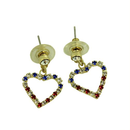 Patriotic Crystal Heart Silhouette Earrings
