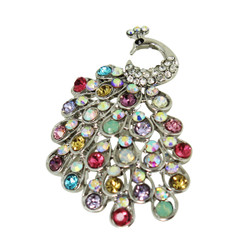 Colorful Sparkling Peacock Brooch
