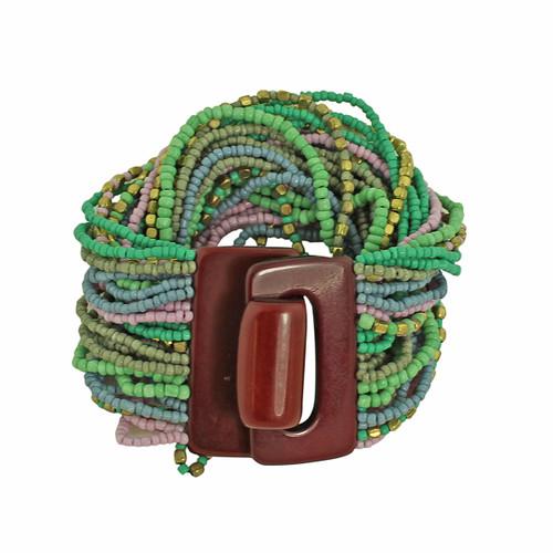 Bead Overload Bracelet Green and Lavender