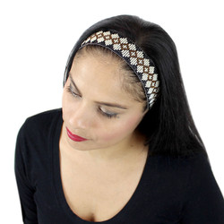 Beaded Navaho Design Headband Black and White