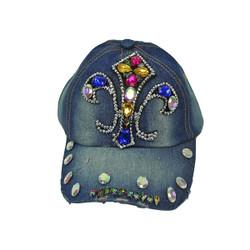 Fleur De Lis Rhinestone Baseball Cap Denim Hat Blue