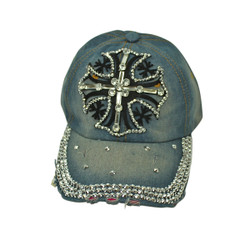 Cross Rhinestone Baseball Cap Denim Hat Light Blue