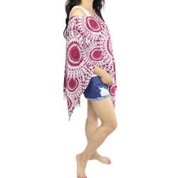 Mandala Print Caftan Kimono Top with Tassels Fuchsia