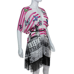 Butterfly Mixed Print Kimono with Tassels Pink