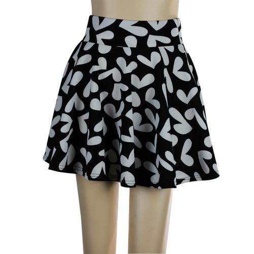 Hearts Short Skater Skirt Black and White