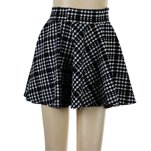 Cross Print Short Skater Skirt Black and White