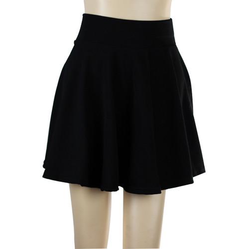 Solid Color Short Skater Skirt Black