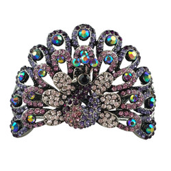 Wide Peacock Bracelet Filigree Cuff Purple