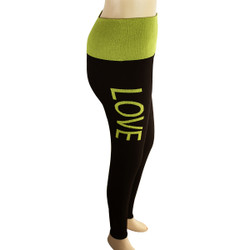 Yoga Legging with 'LOVE' Woven Lettering Yellow-Green
