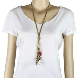 Gold Chain Tassels and Beads Long Necklace Tribal