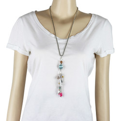 Long Necklace with Blue and Fuchsia Charms and Tassel