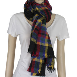 Designer Style Plaid Scarf with Raw Edge Multicolor