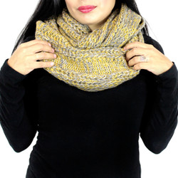 Vintage Tone Knitted Infinity Scarf Grey and Mustard