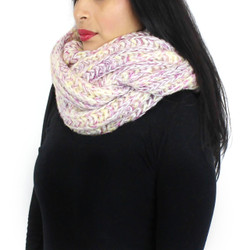 Chunky Knitted Infinity Scarf Blended Pastel Color Pink and Purple