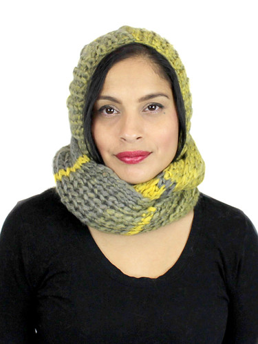 Two-Toned Hooded Scarf with Pom Pom Mustard and Green