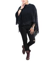 Streak of Brilliance Crocheted Poncho V-neck Black