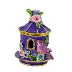 Purple Birdhouse with Flowers Trinket Box