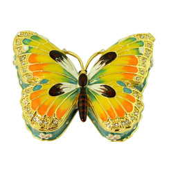 Orange Butterfly Trinket Box
