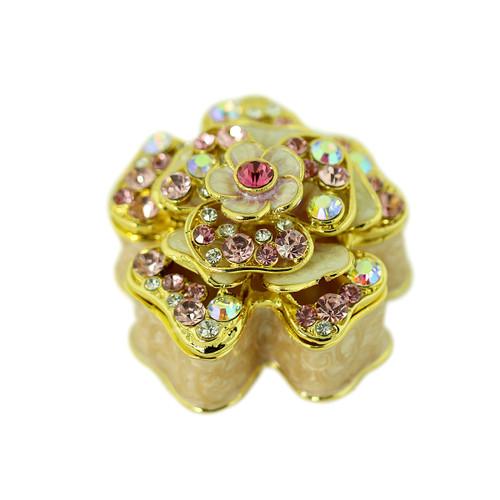 Pink Flower Trinket Box Bejeweled