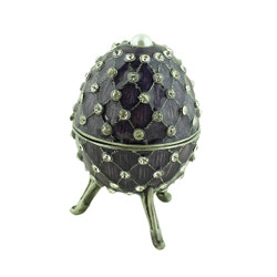 Purple Egg Trinket Box with Pearl and Crystals