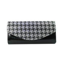 Houndstooth Evening Clutch Black and White