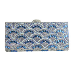 Rhinestone and Pearls Evening Clutch Blue