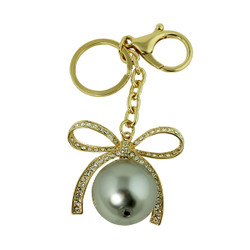 Bow and Pearl Keychain Purse Charm Gold