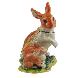 Mother and Baby Rabbit Orange Trinket Box Bejeweled Bunny