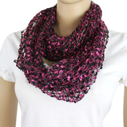 Confetti Infinity Scarf Black and Cherry