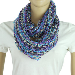 Confetti Infinity Scarf Black Blue and Purple