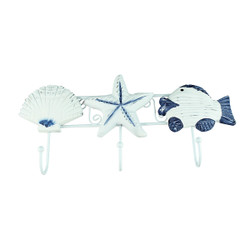Nautical 3 Wall Hook Starfish Sand Dollar and Fish
