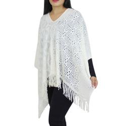 V-Neck Knitted Short Poncho White