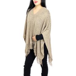 V-Neck Knitted Short Poncho Khaki