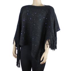 Bohemian V-Neck Sequined Tasseled Short Poncho Black