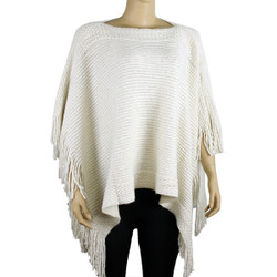 Bohemian V-Neck Sequined Tasseled Short Poncho Ivory