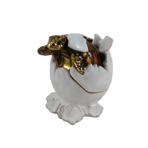 Sea Turtle Hatching Trinket Box Bejeweled