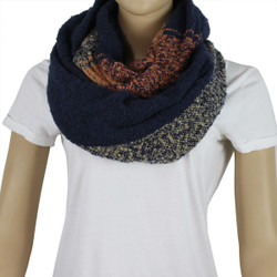 Soft Woven Plaid Infinity Scarf Navy