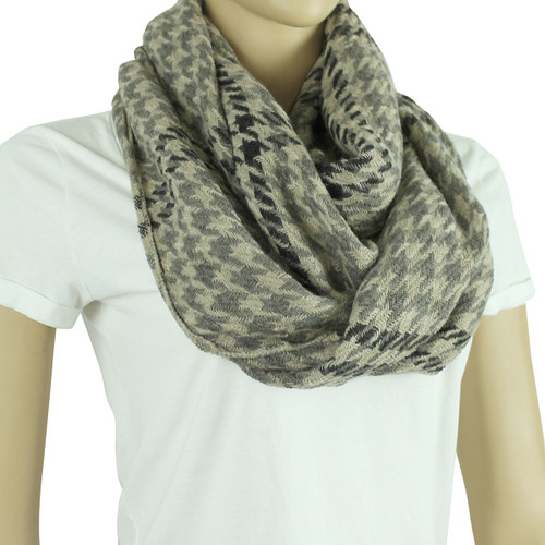Two Toned Houndstooth Infinity Scarf Black and Beige