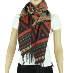 Aztec Scarf with Tassels Burnt Orange