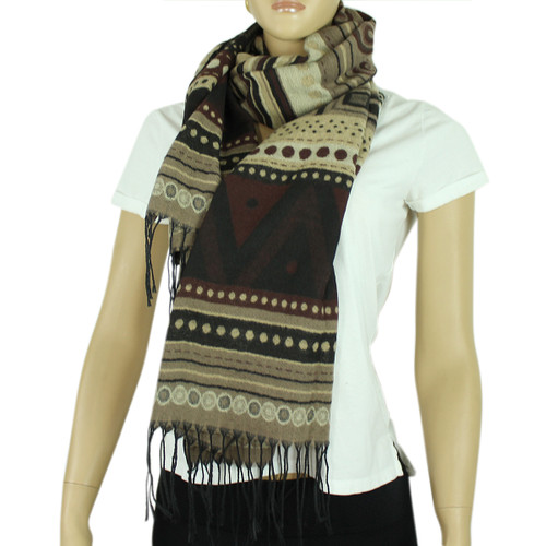 Aztec Scarf with Tassels Brown and Beige