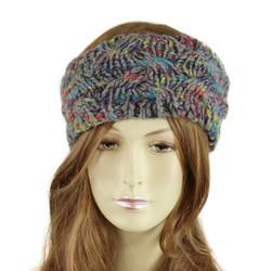 Multicolor Braided Knitted Headband Grey
