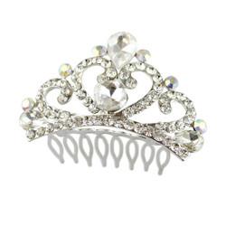 Rhinestone Heart Tiara Comb Silver