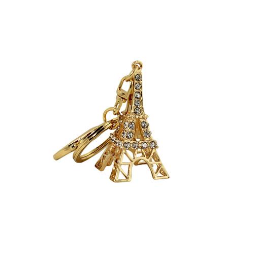 Rhinestone Eiffel Tower Key Chain Gold