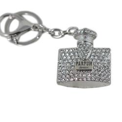 Fashionable Rhinestone Perfume Bottle Key Chain Silver