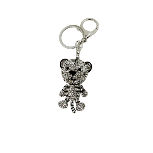 White Rhinestone Tiger Key Chain Silver