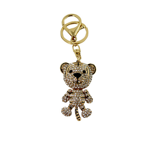 White Rhinestone Tiger Key Chain Gold