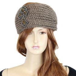 Knitted Khaki Headband with Beaded Cross