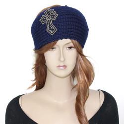 Knitted Navy Headband with Beaded Cross